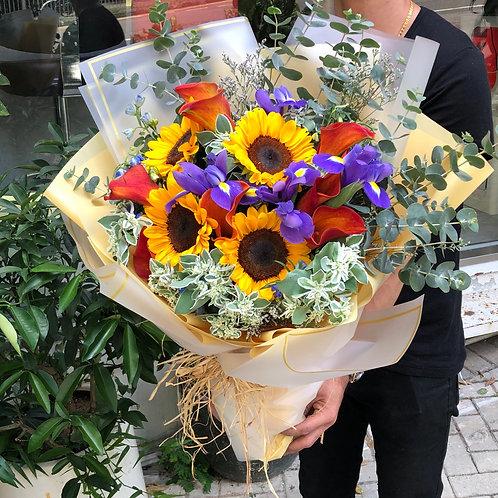 馬蹄蘭向日葵愛麗絲花束 Calla Lily Sunflower Alice Bouquet CLSFAL1