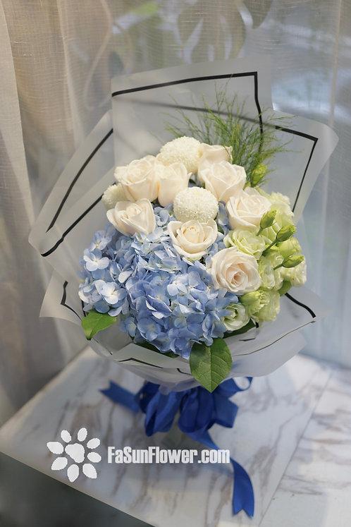 白玫瑰繡球花束 Roses Hydrangea bouquet WHHY10N