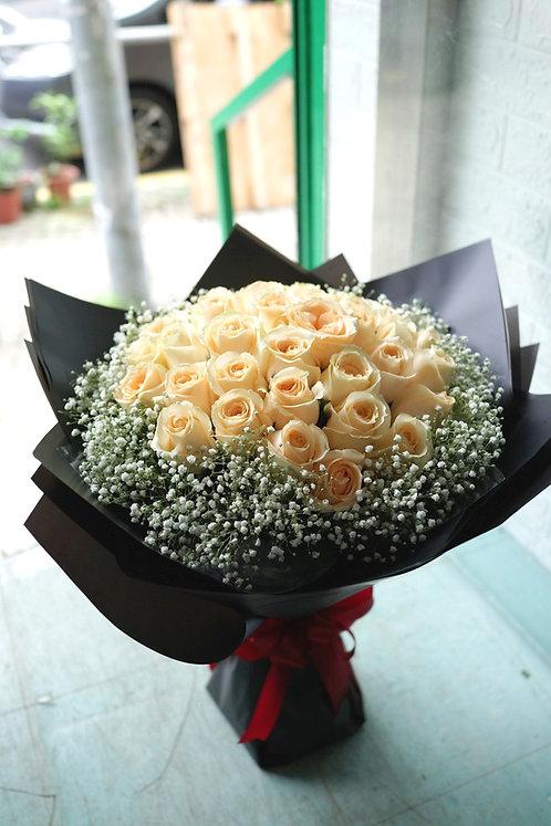38枝香檳玫瑰花束 38 Champagne roses bouquet CP-38B