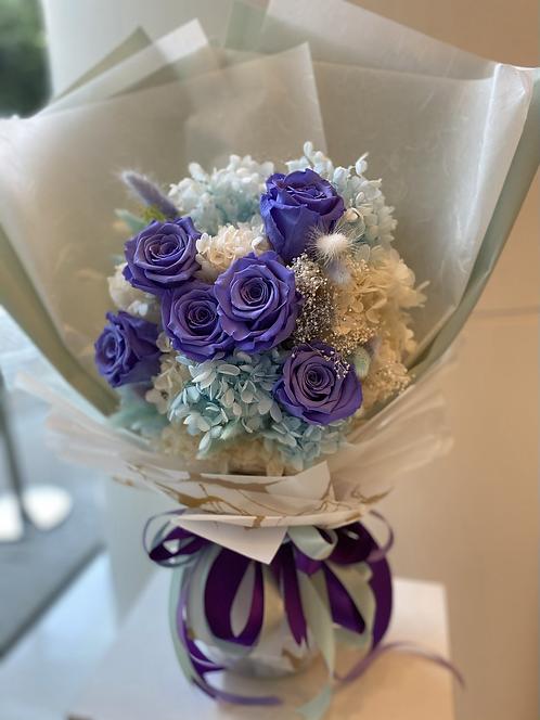 6支少女系保鮮花紫玫瑰花束 Preserved Flower Bouquet PF-FLB6pu