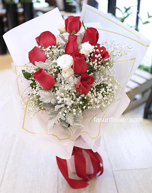 紅白韓式玫瑰花束 Red Roses in K-Style Bouquet WHRE-TR10B