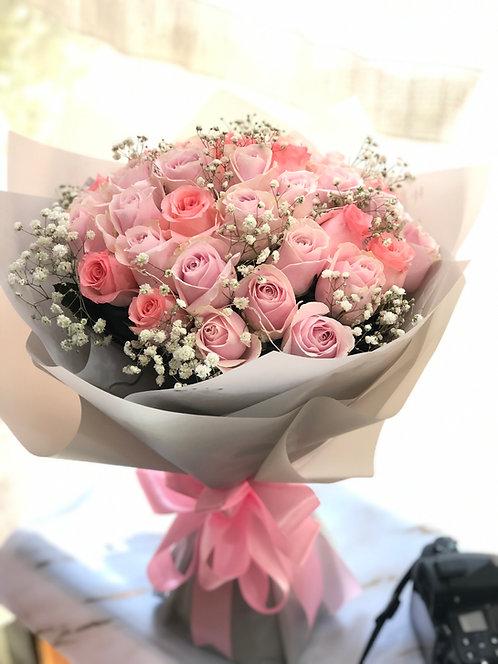 玫瑰滿天星花束 Roses Baby's Breath bouquet PPLP-GY33SB