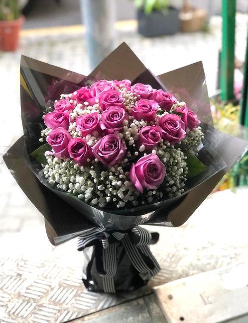 20枝紫玫瑰滿天星高貴花束 20 Red Roses Baby Breath Bouquet PU-GLBK20SB