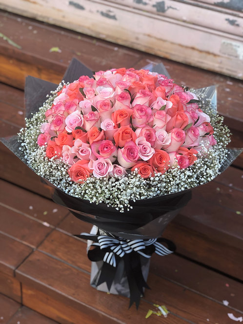 99/108 三色玫瑰花束 Rose Bouquet RPHCPP-GLBK99B