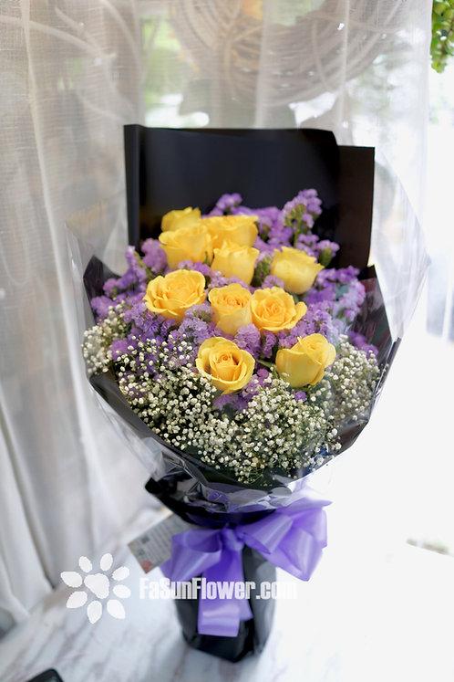 10枝黃玫瑰花束 10 Yellow Rose Bouquet YLRE10B