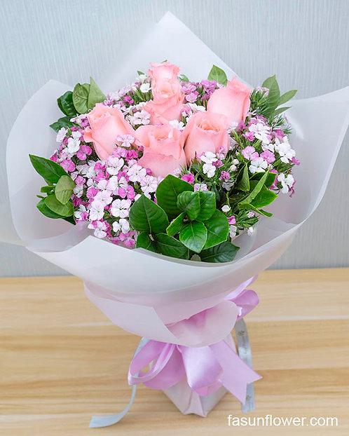6枝淺粉玫瑰花束 light pink rose bouquet PKRE6