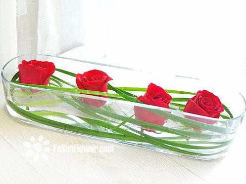 紅玫座枱鮮花擺設 Red Rose Of Four TW-RO-OT-01