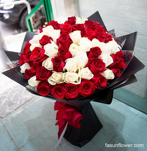 99/108 紅白雙色玫瑰花束 Red and White Roses Bouquet WHRE-BK99