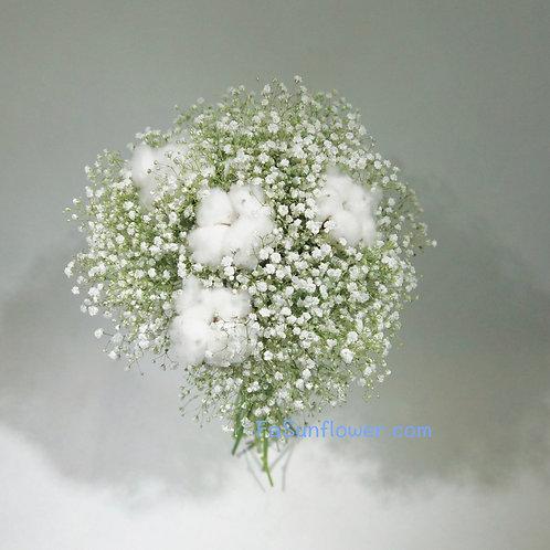 (F) White Baby Breath Wedding Package 花球套餐 F