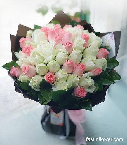 51枝粉紅/白玫瑰花束  51 Pink and White Roses bouquet WHPK-BK51
