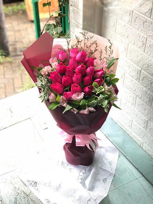 20 Light Pink Roses Bouquet 粉玫瑰花束  LPRE202