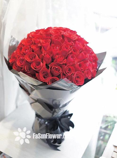 99/108 紅玫瑰花束(玻璃黑色花紙) Rose Bouquet 5 RE-GLBK99