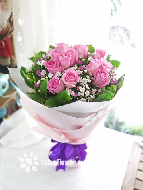 12枝深粉紅玫瑰花束 12 Deep Pink rose bouquet DPRE12