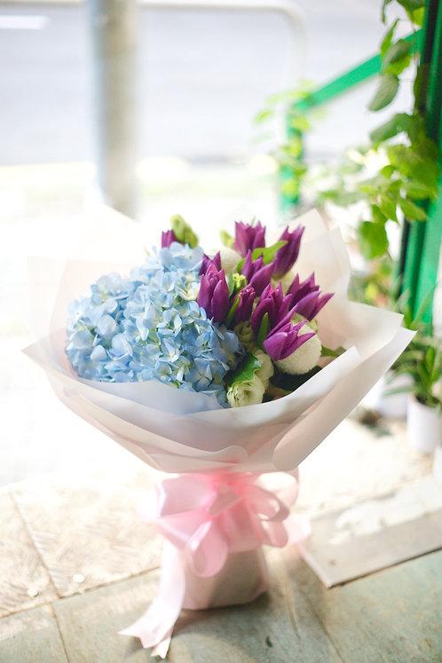 鬱金香繡球花束 Purple Tulip Hydrangea Bouquet PTUHYB10