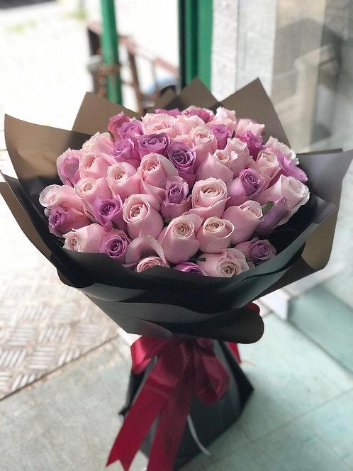 51枝粉紅紫玫瑰求婚花束 51 roses bouquet PKPU-BK51