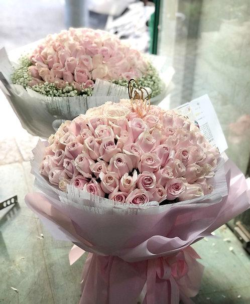 情人節 99 粉雪山玫瑰花束 Roses Bouquet PP-PK99(VD)