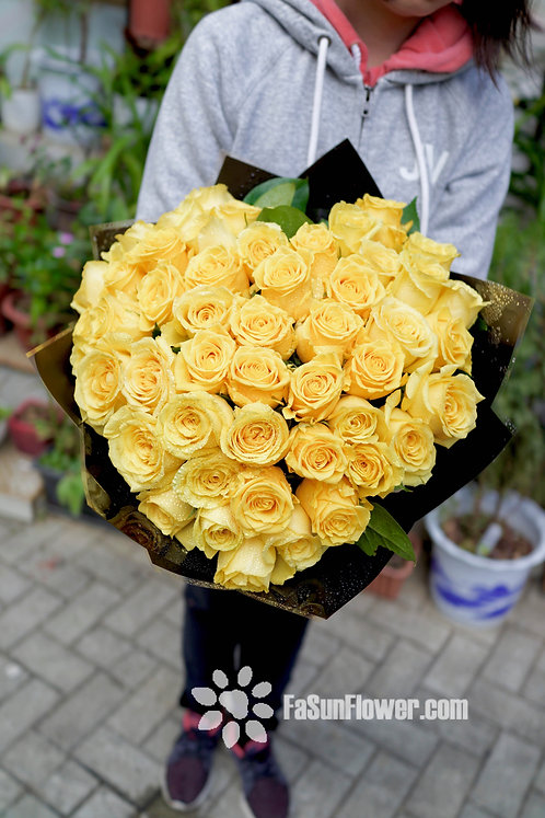 心型51枝黃玫瑰花束 Heart Shaped Yellow Roses bouquet HAYE51