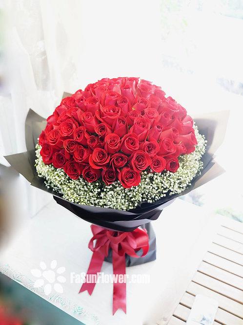 99/108 玫瑰滿天星花束 Roses Bouquet RE-BK99B