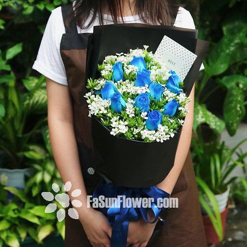 (必需預訂) 藍玫瑰花束 Blue Rose bouquet REBU102