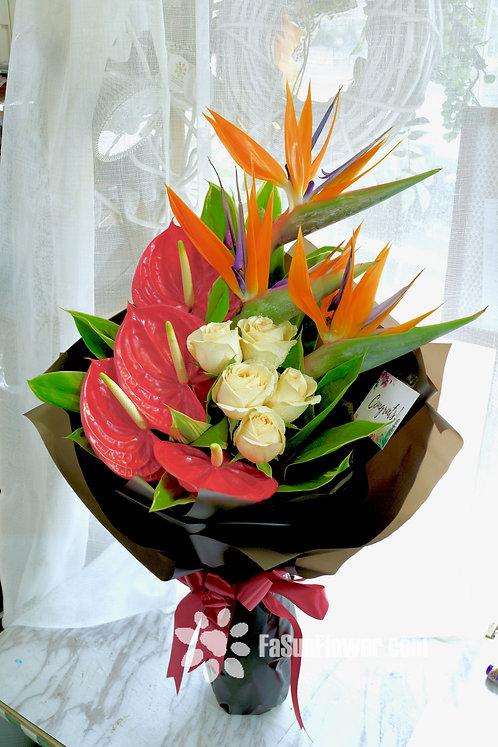 天堂鳥畢業花束 Red paddle Calla and strelitzia reginae graduate bouquet CPBIRDB1