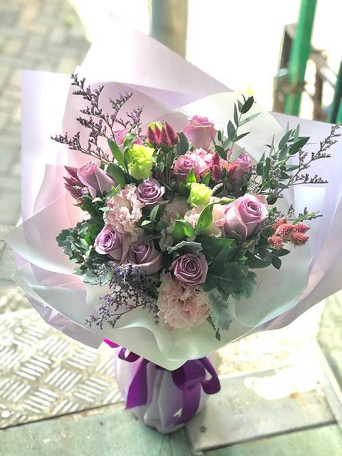 10枝紫玫瑰桔梗花束 10 Purple Rose Eustoma Bouquet LPUEM10