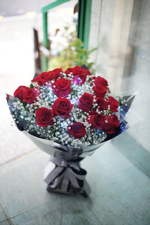 20枝紅玫瑰滿天星高貴花束 20 Red Roses Baby Breath Bouquet RE-GLBK20SB