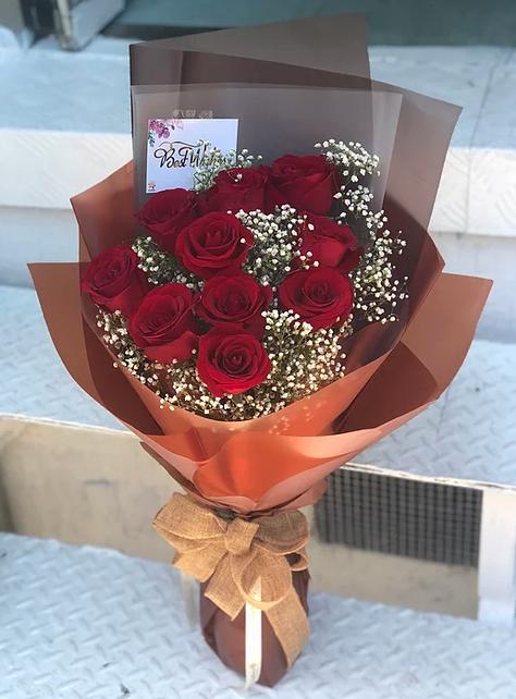 情人節10支紅玫瑰花束 10 Red Roses Bouquet VD-RE10BO