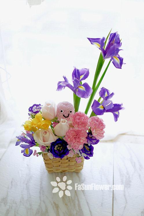 愛麗絲可愛小花籃 Cute Iris little Flower Basket