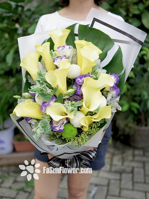 黃色馬蹄蘭花束 Yellow Calla Lily Bouquet YLCA10