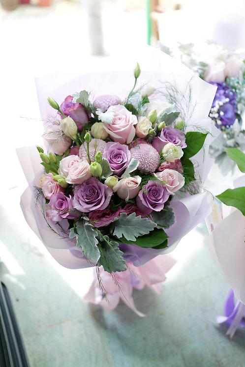 粉紫玫瑰花束 Pale pink and Purple roses bouquet EUSPPPUPO