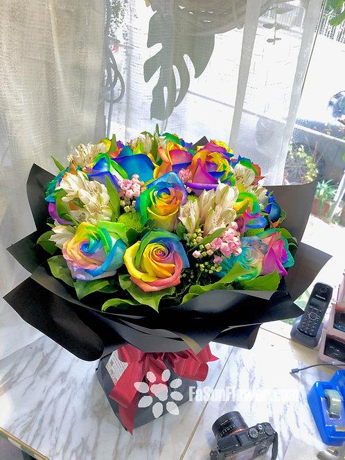 20枝彩虹玫瑰花束 Rainbow Roses bouquet RAIN20B (必須預訂)