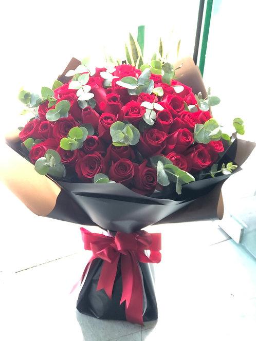 51 Red Rose Bouquet 玫瑰花束 (歐式尤加利配撘)RE-BK51ER