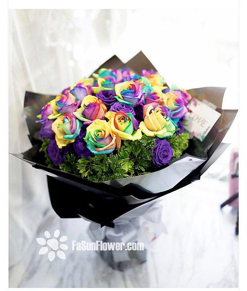(必須預訂)Rainbow Roses bouquet 彩虹玫瑰花束 RAIN20AA