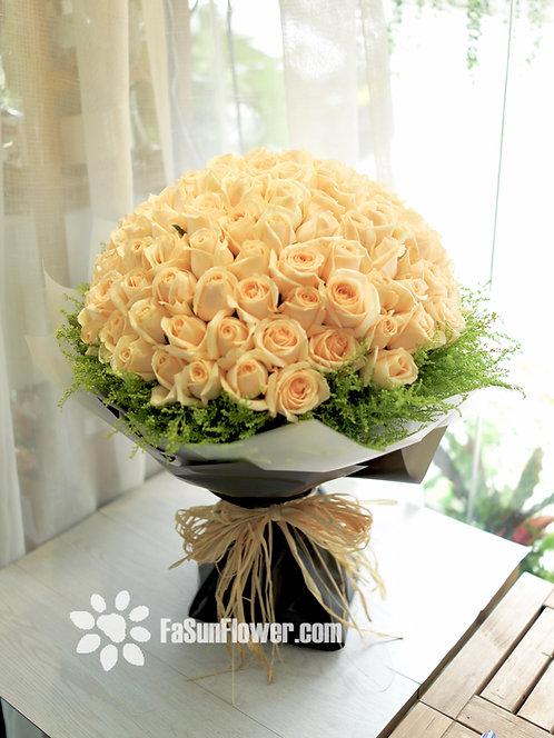 99/108 香檳玫瑰花束 Champagne Rose Bouquet CP-BKTR99Y