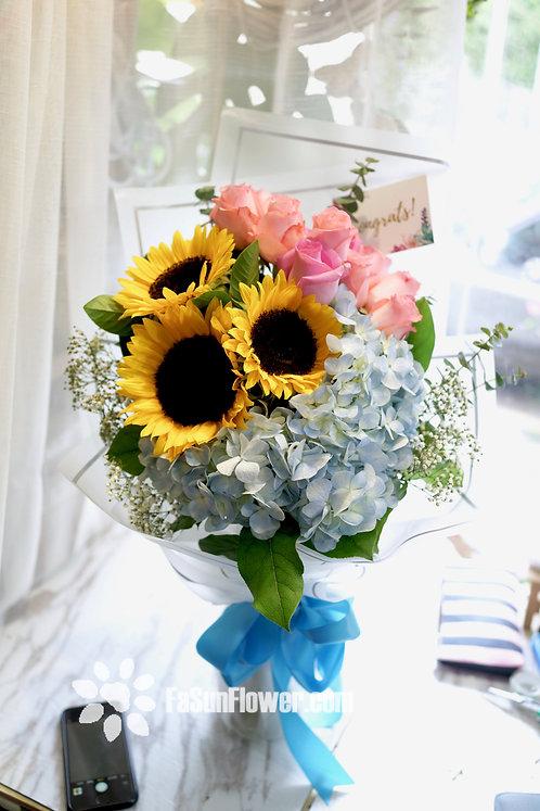 Sunflower hydrangea graduate bouquet 向日葵畢業花束 SF053