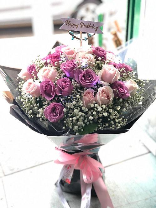 20枝粉紅玫紫玫瑰滿天星花束  Pale Pink and Purple Rose bouquet PPPU-GLBK30SSB