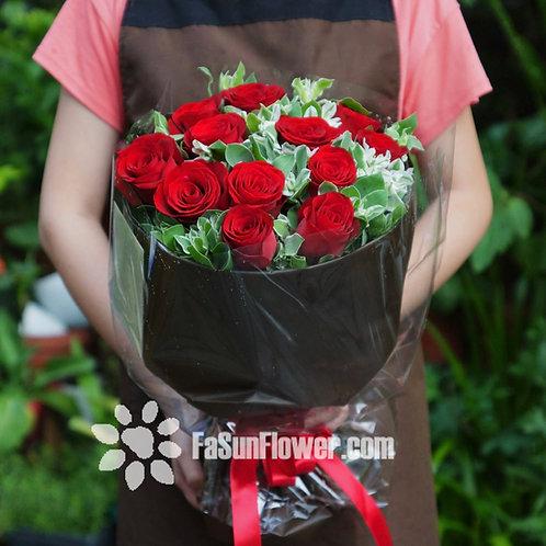 12枝紅玫瑰花束 12 Red Roses Classic Bouquet REAA12