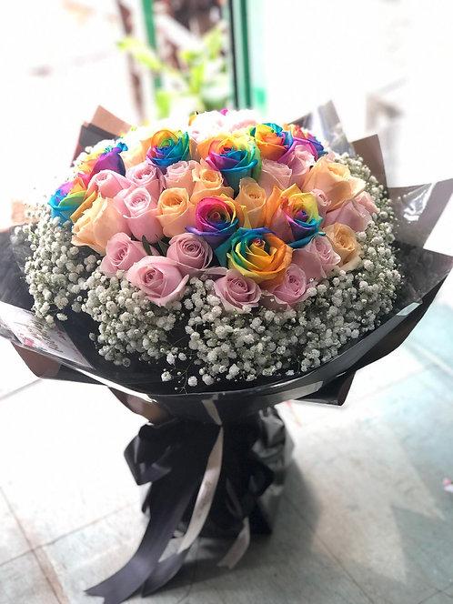 51支 彩虹玫瑰花束 (必須預訂)Roses Bouquet  RAINBOWP-GLBK51B