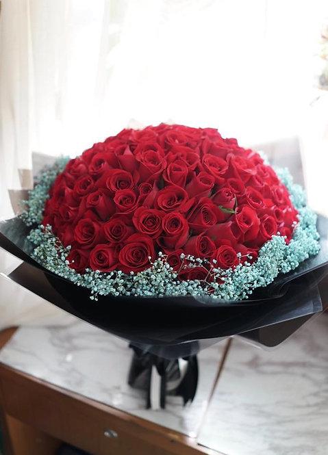 99/108 玫瑰天藍滿天星花束 Roses Bouquet RE-BK99BB
