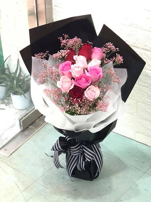 12枝玫瑰韓式花束 12 Roses K-Style Bouquet KS12