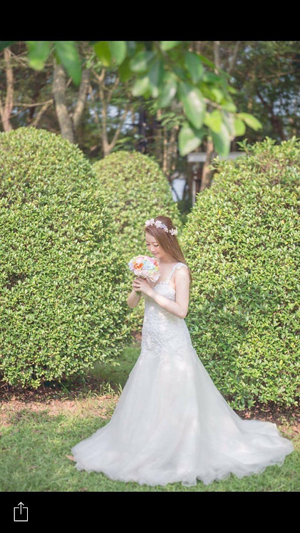 (C) Wedding Bouquet With Floral Crown Set 鮮花花球套餐 C