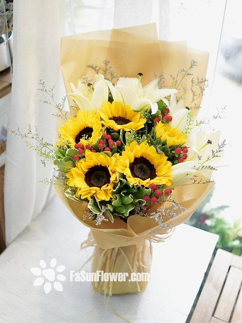 向日葵百合花束 Sunflower Lily Bouquet SFLY651
