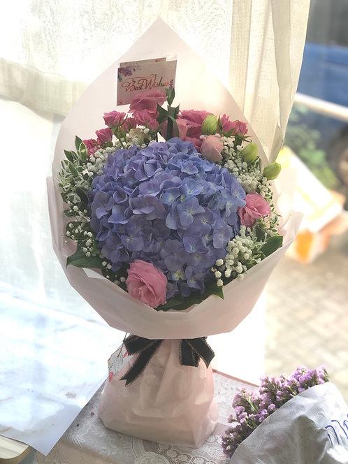繡球小玫瑰桔梗花束 Hydrangea Bouquet BQ-HYBB1