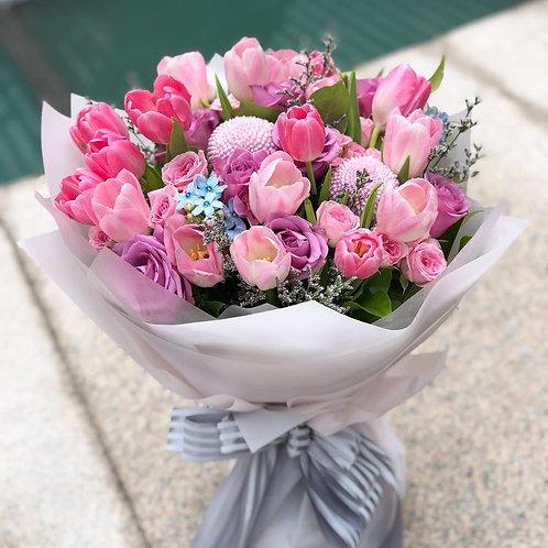 鬱金香玫瑰花束 Purple Tulip Hydrangea Bouquet LPTUPU10