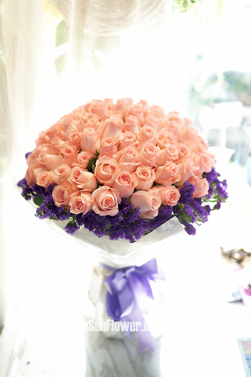 99/108 粉玫瑰深紫無忘我花束 Pink Roses Bouquet PK-WH99PM