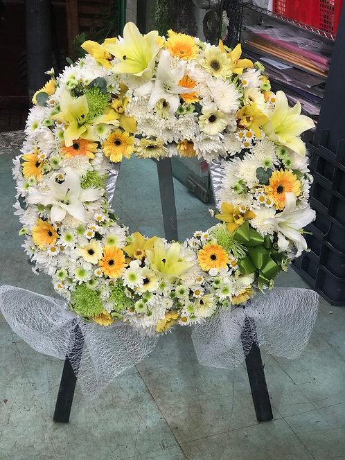 白菊圓形花牌 Round Shape Sympathy Flower ROSF03