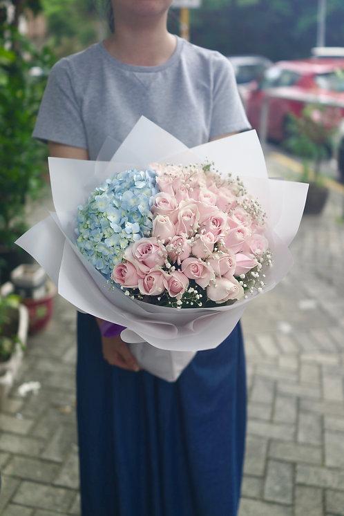 淺粉玫瑰繡球花束 Roses Hydrangea bouquet PPHYB30