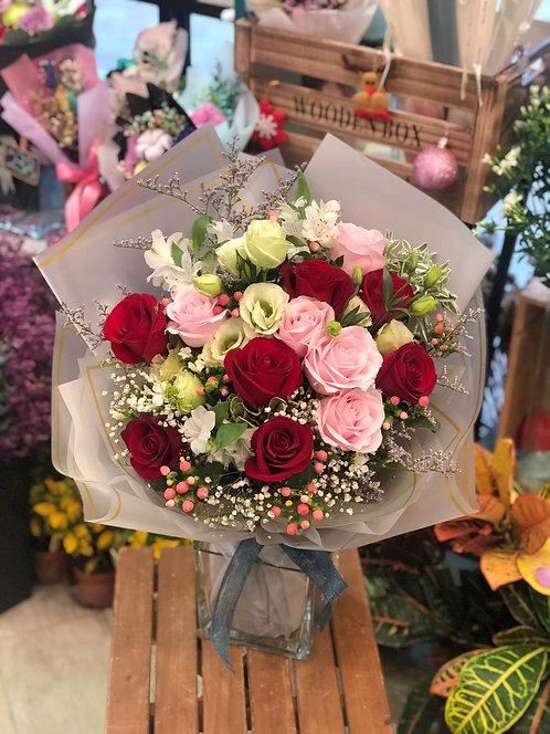 12枝紅粉紅玫瑰花束 Red Rose bouquet REPK12