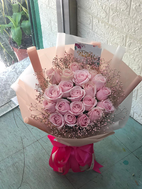 20枝淺粉紅玫瑰花束 20 Pale Pink Roses Classic Bouquet KSPP20