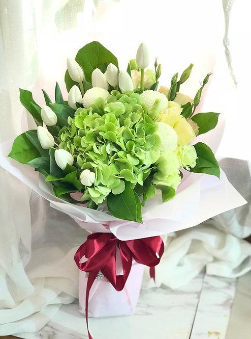 鬱金香繡球花束 Tulip Hydrangea Bouquet WHTUHY10